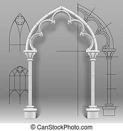 Gothic arch - Vector image of the gothic arch against a...