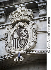 stone shield, Spanish city of Valencia, Mediterranean...