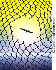 Desire for Freedom - Eagle escaping from cage as symbol and...