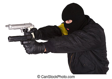 Robber with handgun isolated on white bacground