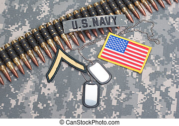 US NAVY concept - camouflage background with US flag