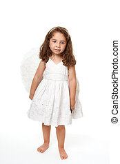 Beautiful angel girl - Divine little angel standing on a...