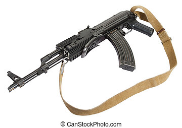 Kalashnikov AK47 with modern accessories isolated on white