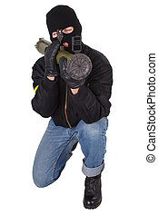 terrorist with bazooka grenade launcher isolated on white...
