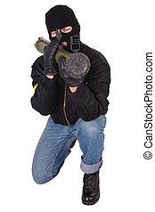 terrorista, bazooka, granada, lançador