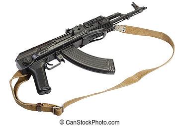 Kalashnikov AK47 with modern accessories isolated on white