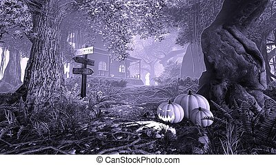 Haunted House 2 - Monochrome illustration of a mystic forest...