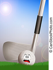 golf club with scared ball - illustration of a golf club...