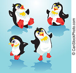 Set with funny penguins on blue icy background, cartoons for...