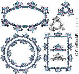 Set of Rectangular, oval and round frames - floral ornaments and