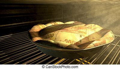 Rand Money Pie Baking In The Oven - A closeup concept of a...