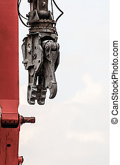 Demolition crane on construction site - Demolition crane,...