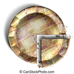 Slice Of South African Rand Money Pie - A top view concept...