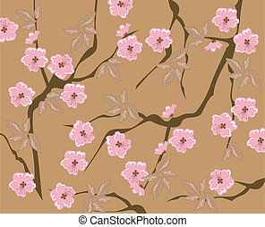 Cherry Blossom - vector seamless cherry blossom background
