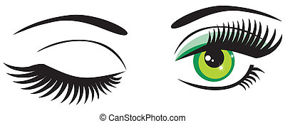 Green Eyes - vector green eyes with long lashes
