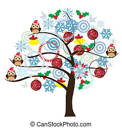 winter tree - vector tree with owls, balls, snowflakes