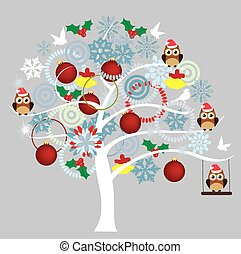Winter Tree - vector tree with owls