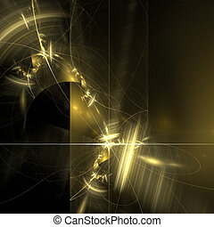 Abstract background. Black - yellow palette. Raster fractal...