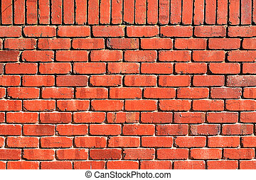 Background Texture: Red Brick Wall with Perpendicular Top...