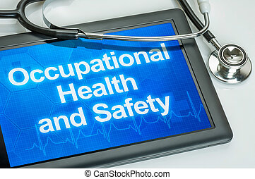Tablet with the text Occupational Health and Safety