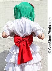 character cosplay girl, back view