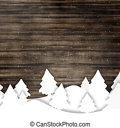 Wood Winter Christmas Creative Graphic Design - Wood Winter...
