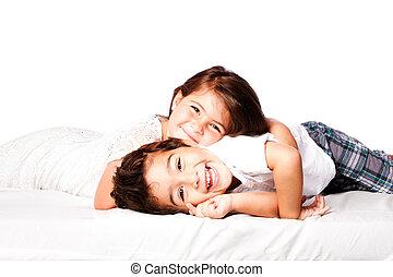 Happy Siblings brother sister - Happy smiling siblings...