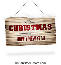 wood sign merry christmas and happy new year design - wood...
