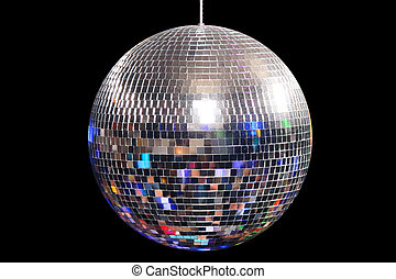 Disco Ball and happy dancing people in a disco night club