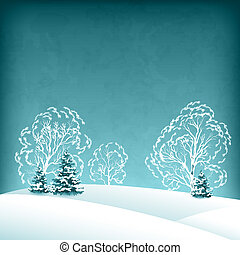 Vector winter landscape with fir trees and the trees in the...