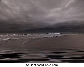 Moody Overcast Beach with Peaceful Wavelets