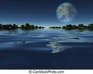 Terraformed Moon from Earth or Exo Solar Planet