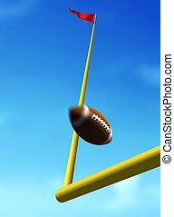 Football Ball Over Goal Post