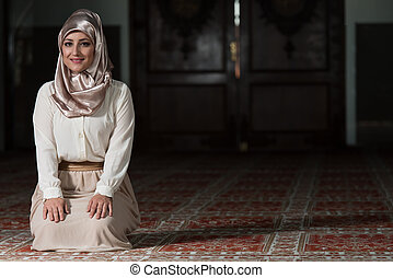 Portrait Of Young Muslim Woman - Young Muslim Woman Praying...