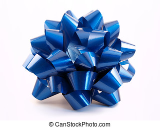 Blue Bow - A shinny blue gift bow made from ribbon
