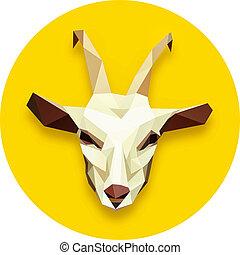 goat head polygonal  in yellow circle