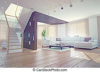 living room interior - Modern living room interior...