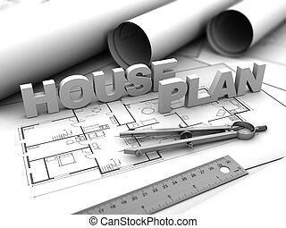 house plan - 3d illustration of house blueprints concept