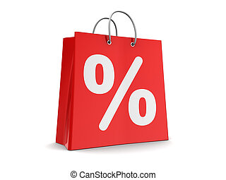 shopping bag - 3d illustration of red shopping bag with...