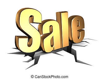 sale sign - abstract 3d illustration of sale sign falled to...