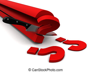slicing questions - abstract 3d illustration of knife...