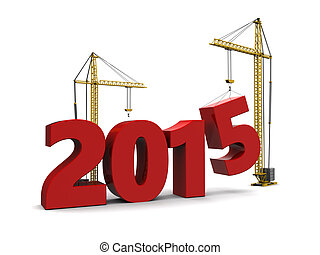 building new year - abstract 3d illustration of 2015 year...