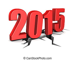 new year - 3d illustration of 2015 new year sign