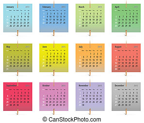 2015 Calendar - Calendar for 2015 in English on colorful...