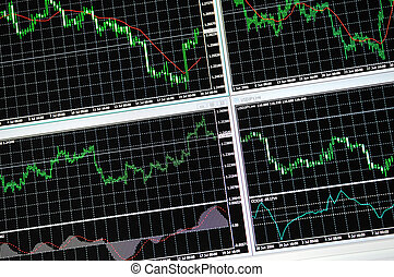 stock graph - stock market graph on big lcd display closeup...