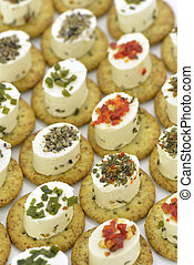 Cheese appetizer with biscuit - Close-up of cheese...