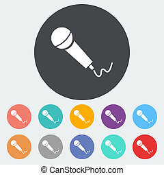 Microphone Single flat icon on the circle Vector...
