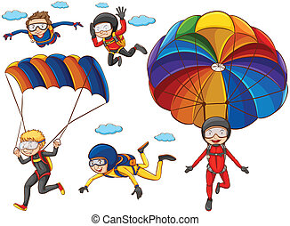 Parachute - Illustration of many people doing parachutes