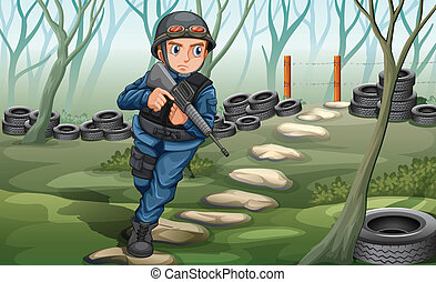 Soldier - Illustration of a close up soldier in the field