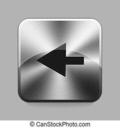 Chrome button - Arrow chrome or metal button or icon vector...